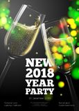 Vector New Year poster. Invitation template with transparent champagne glasses on bright background with blurred xmas tree Royalty Free Stock Photo