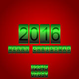 Vector 2016 New Year red green card odometer. Vector New Year's card with the counter 2016. Changeable figures Stock Image