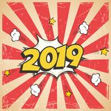 Vector 2019 New Year retro design. 2019 New Year comic book style postcard or greeting card element. Vector 2019 New Year retro design. 2019 New Year comic book Royalty Free Stock Photo