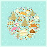 Vector New Year's card with goats. Birds, trees and bears Royalty Free Stock Photo