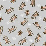 Vector. New Year`s seamless pattern. Sledge of Santa Claus on a gray background. stock illustration