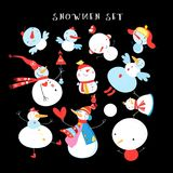 Vector New Year`s winter set of different snowmen royalty free illustration