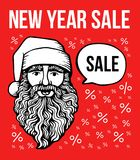 Vector new year sale poster with Santa and bubble. Holiday sale background and design banner. Vector template stock illustration