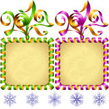 Vector New Year 2017 square frame set. Green and purple Stock Images