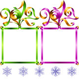Vector New Year 2017 square frame set. Green and purple Stock Image
