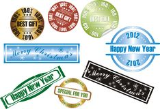 Vector new year stamp Stock Photography