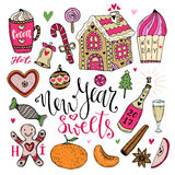 Vector New Year Sweets set. Christmas hand drawn bright collection with cocoa, gingerbread house Stock Photography