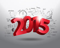 Vector new year 2015 three dimensional on drawing business. New year 2015 three dimensional on creative drawing business success strategy plan ideas concept Royalty Free Stock Photo