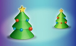 Vector New Year trees with  spheres and a star. New Year trees with multi-colored spheres and a star Stock Images