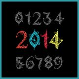 Vector New year 2014 (two thousand and thirteen). Set of stylize Stock Image