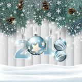 Vector New Year wooden background with hanging numbers and decorations. New Year background with snow, fir branches, hanging numbers and ornaments in front of royalty free illustration