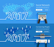 Vector 2017 new year working on computer social network Royalty Free Stock Photos