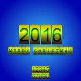 Vector 2016 New Year yellow blue card odometer. Vector New Year's card with the counter 2016. Changeable figures Vector Illustration