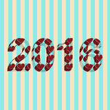 Vector new years greeting card with 2016 in hearts Royalty Free Stock Photography