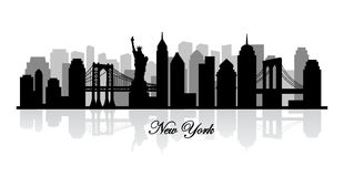 Vector new york skyline silhouette Stock Images