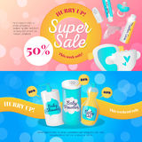 Vector newborn accessories banners design templates. Baby goods sale vouchers collection. Royalty Free Stock Photos