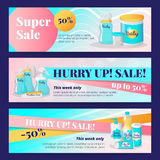 Vector newborn accessories banners design templates. Baby goods sale vouchers collection. Stock Photography