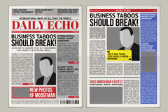 Vector daily newspaper template, tabloid, layout posting reportage Royalty Free Stock Image