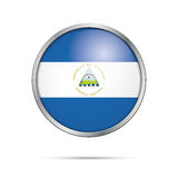 Vector Nicaraguan flag Button. Nicaragua flag in glass button st. Nicaragua flag glass button style with metal frame Stock Photos
