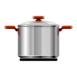 Vector nieuw zilveren pan geïsoleerdc vaatwerk stock illustratie