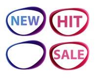 Vector nieuwe stickersverkoop, klap Royalty-vrije Stock Afbeelding