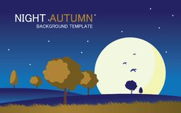 Vector night autumn landscape background template. With a big moon vector illustration