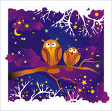 Vector night background with owls Royalty Free Stock Photo