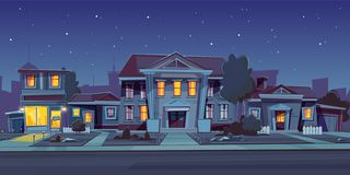 Vector rental of house, estate. Night background vector illustration
