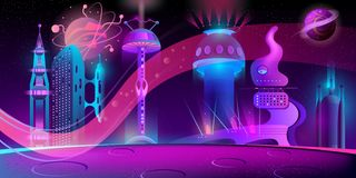 Free Vector Night Background With Alien Futuristic City Royalty Free Stock Image - 134825856