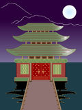 Vector night  buddhist temple Stock Images