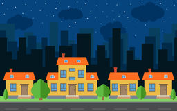 Vector night city with cartoon houses and buildings. City space with road on flat style background concept Royalty Free Stock Images