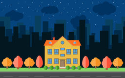 Vector night city with cartoon houses and buildings. City space with road on flat style background concept. Stock Images