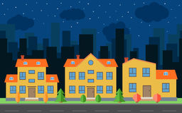 Vector night city with cartoon houses and buildings. City space with road on flat style background concept Stock Photography