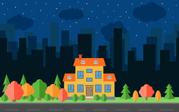 Vector night city with cartoon houses and buildings. City space with road on flat style background concept Royalty Free Stock Photo