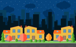Vector night city with cartoon houses and buildings. City space with road on flat style background concept Stock Image