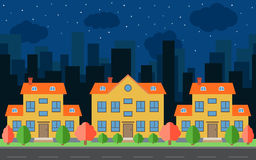 Vector night city with cartoon houses and buildings. City space with road on flat style background concept. Royalty Free Stock Photography