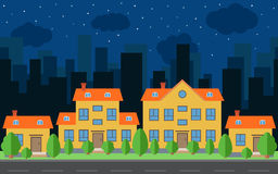 Vector night city with cartoon houses and buildings with green trees and shrubs. City space with road on flat style background concept. Summer urban landscape Stock Photography