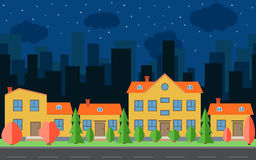 Vector night city with cartoon houses and buildings with red and green trees and shrubs. Stock Photo