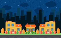 Vector night city with cartoon houses and buildings with red, yellow and green trees and shrubs Stock Photos