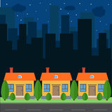 Vector night city with cartoon houses and buildings. Stock Image