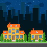 Vector night city with cartoon houses and buildings Stock Images