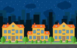 Vector night city with cartoon houses and buildings. Stock Images