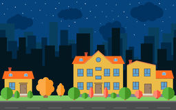 Vector night city with cartoon houses with trees and shrubs Royalty Free Stock Photos