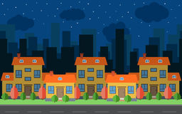 Vector night city with five cartoon houses and buildings. City space with road on flat style Stock Photos