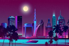 Free Vector Night City On River, Tropical Megapolis Royalty Free Stock Photo - 133440355