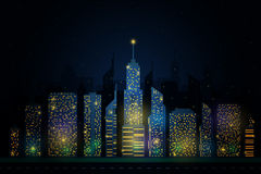 Vector of night city skyline Stock Photo