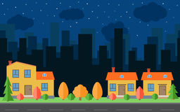 Vector night city with three cartoon houses and buildings. City space with road on flat style background concept. Summer urban landscape. Street view with Stock Photography