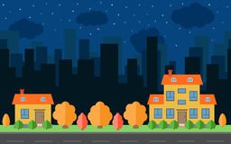 Vector night city with two cartoon houses and buildings. City space with road Stock Photography
