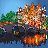 Vector night city view of Amsterdam canal and bridge Stock Photography