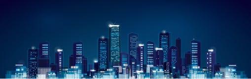 Vector night  cityscape. Royalty Free Stock Photography